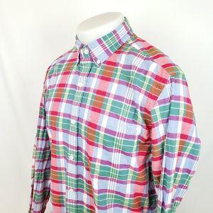 J Crew Mens Button Front Shirt Medium L/S Plaid